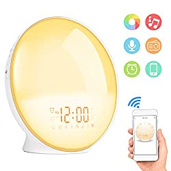 Sunrise Alarm Clock, Shayson Smart Wake Up Light, Digital Alarm Clock Radio, 7 Colored Sunrise Simulation and Sunset Fading, 4 Alarms/FM Radio/20 Brightness/7 Alarm Sounds/Snooze