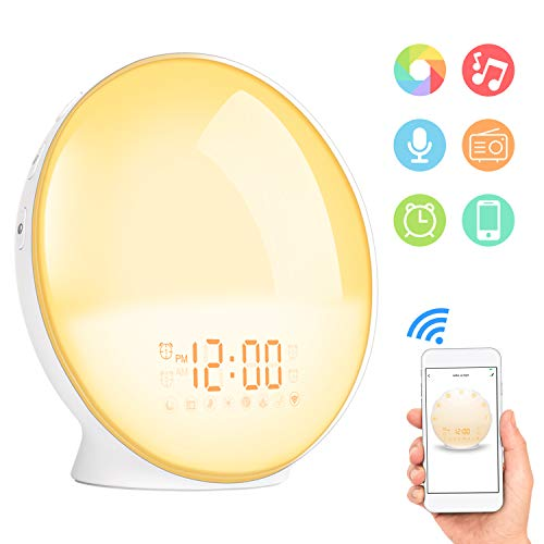 Sunrise Alarm Clock, Shayson Smart Wake Up Light, Digital Alarm Clock Radio, 7 Colored Sunrise Simulation and Sunset Fading, 4 Alarms/FM Radio/20 Brightness/7 Alarm Sounds/Snooze