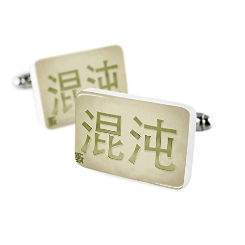 Cufflinks Chaos Chinese characters, green letter Porcelain Ceramic (Chaos Cufflinks)