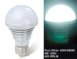 5W E27 Cool White Epistar LED Ball Bulb