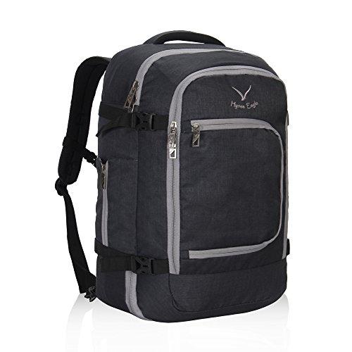 Hynes Eagle Travel Backpack 40L Flight Approved Carry on Backpack, Black Grey