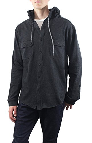Ocean Current Mens Middle Fleece Hoody Button Down Shirt (Small, Charcoal)