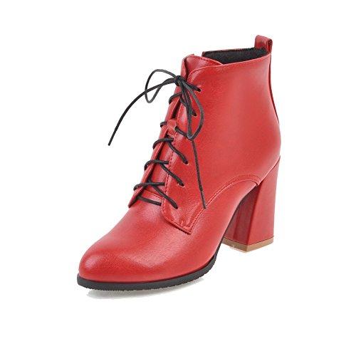 AllhqFashion Damen Rund Zehe Reißverschluss Velours Material Rein Hoher Absatz Stiefel, Rot, 39