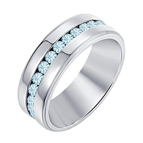 RUDRAFASHION Round Cut Created Aquamarine 14K White Gold Half Eternity Engagement Wedding Band Ring for Men's