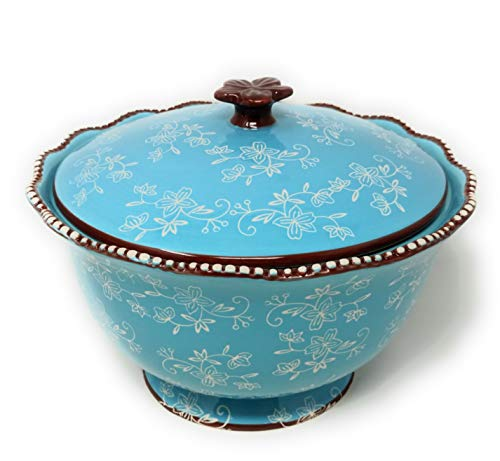 Temp-tations 3 qt Serving Bowl with Lid, Stoneware, Scallop & Flange Edge ... (Floral Lace Light Blue)