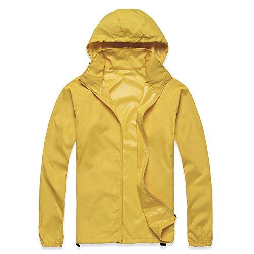 SODIAL(R) Outdoor Unisex Cycling Running Waterproof Windproof Jacket Rain Coat -Yellow,S