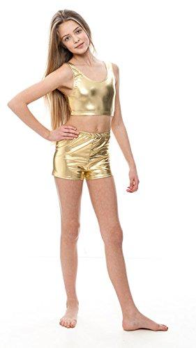 2936fe372 Katz Dancewear Ladies Girls Shiny Metallic Dance Tank Back Crop Top ...