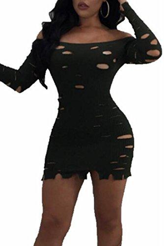 Dress Mini Black Sexy Bodycon Ripped Women's Knit Jaycargogo Shoulder Holes Off vFzWq8