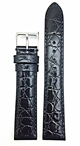 20mm Black Genuine Leather Watch Band | Round Croco Grain, Semi-Glossy, Lightly Padded Replacement Wrist Strap that brings New Life to Any Watch (Mens Standard (Black Glossy Leather Watch Band)