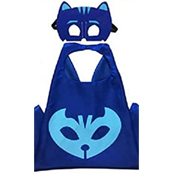 Honey Badger Brands Dress Up Comics Cartoon Superhero Costume with Satin Cape and Matching Felt Mask, PJ Mask, Cat Boy