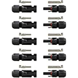 RENOGY® 5 Pair MC4 Male/ Female Solar Panel Cable Connectors Double Seal Rings for Better Waterproof Effect
