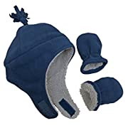 N'Ice Caps Boys Sherpa Lined Micro Fleece Pilot Hat and Mitten Set (6 - 18 Months, Infant - Navy)