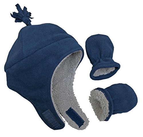 N'Ice Caps Boys Sherpa Lined Micro Fleece Pilot Hat and Mitten Set (6 - 18 Months, Infant - Navy) - Kids Hat N Mitten