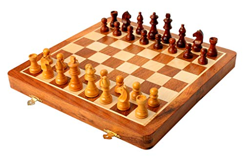 16' x 16' Collectible Wooden Folding Chess Game Board Set + Wooden Magnetic Crafted Pieces (Delivery < 7 Days)