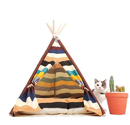 - little dove Pet Teepee Dog(Puppy) & Cat Bed - Portable Pet Tents & Houses for Dog(Puppy) & Cat Colorful Style 28 Inch with Thick Cushion