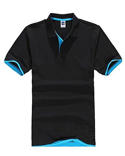 Moollyfox Manches Courtes Casuel Bleu Noir À Polo Lac Hommes shirt T Sport r1P8rCq