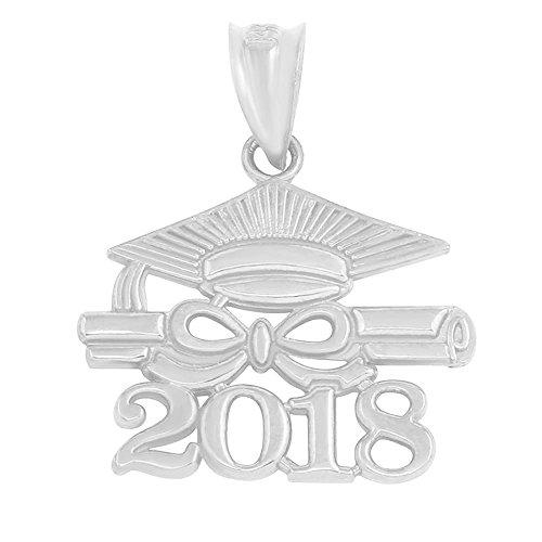 925 Sterling Silver Diploma & Cap Charm 2018 Graduation Charm Pendant (Charm Graduation Pendant)
