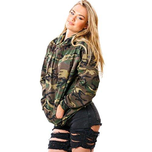 Canserin Women Sweatshirt, Women's Long Sleeve Hooded Pullover Military Camouflage Printing Hoodie Sweatshirt (L, ()
