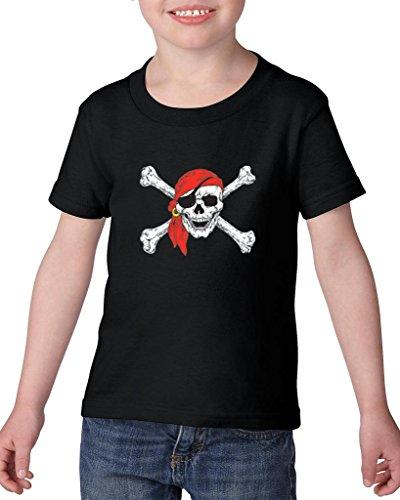 ARTIX Jolly Roger Skull Crossbones Pirate Booty Belt for Pirate Costumes Heavy Cotton Toddler Kids T-Shirt Tee Clothing 4T Black ()