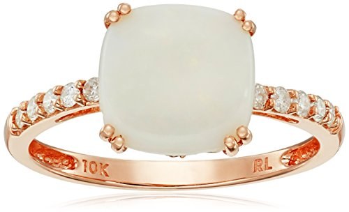 10k Rose Gold Cushion Cut Opal With Diamond Accent Ring (1/5cttw, I-J Color, I2-I3 Clarity), Size 7