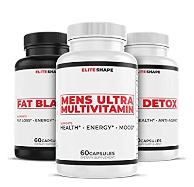 Men's Health Stack by Elite Shape   Dietary Weight Loss Supplements   Fat Burner, Multivitamin, and Detox Combo Pack   60 Capsules Each