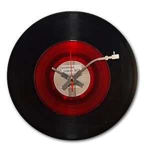 BottleClock - Reloj de pared, diseño de disco de vinilo, color rojo y negro