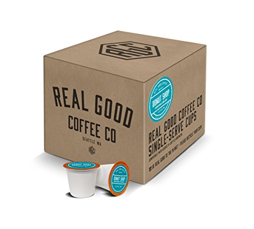 Materials Recyclable (Real Good Coffee Co Recyclable K Cups, Donut Shop Medium Roast, For Keurig K-Cup Brewers, 36 Single Serve Coffee Pods)