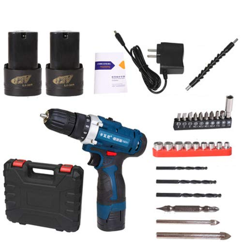 FLB 12V-25v Cordless Drill Charging Screwdriver Home Electric Rechargeable Multi-Function Flashlight Drill,16.8v2batteryaccessories