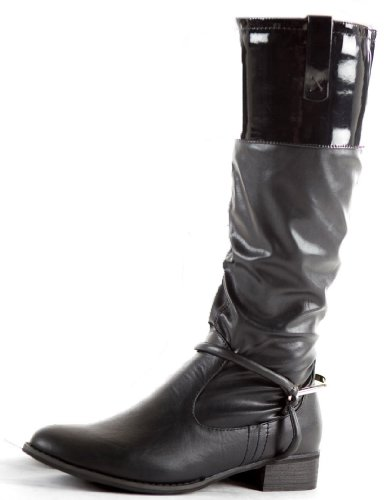 Womens Winter Biker Style Low Flat Heel Calf Leg Knee Boots Size 3-8 Black AjrtBPSEkD