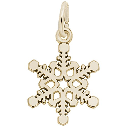 (10k Yellow Gold Snowflake Charm, Charms for Bracelets and Necklaces)