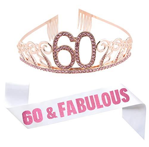 60th Birthday Pink Tiara and Sash, Happy 60th Birthday Party Supplies Favors Decorations, Glitter Satin Sash and Crystal Rhinestone Tiara 60th Birthday Crown Birthday Cake Topper]()