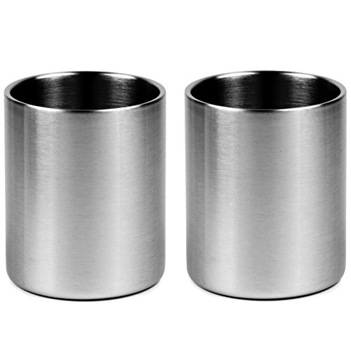 (Stainless Whiskey Old Fashioned Glass - Double Walled - 10oz Lowball by Lancaster Steel, set of 2)