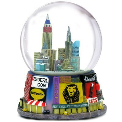 ZIZO USA New York City Broadway Snow Globe (3.5 inches Tall) Souvenir Broadway Theater Shows Snow Globes