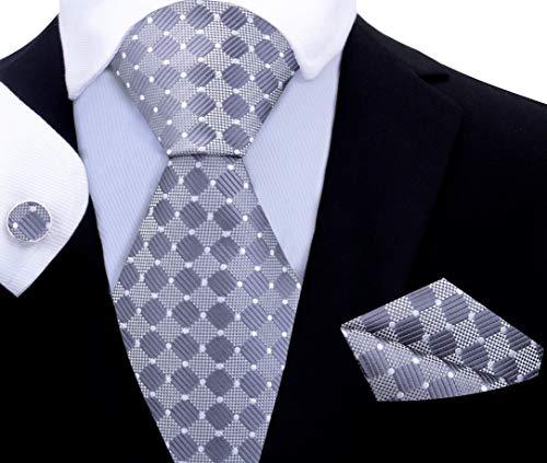 Twenty Dollar Tie Pacer Geometric Tie Pocket Square Cuff-links Set (Regular - 60
