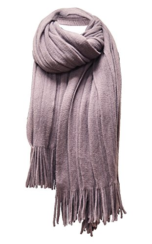 Beaded Knit Shawl (Women's Soft Warm Winter Knit Scarf Tassels Soft Shawl ,SMOKEY PURPLE,ONE SIZE)
