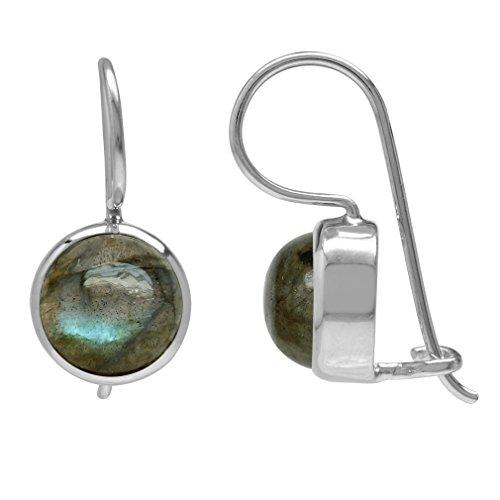 8MM Labradorite White Gold Plated 925 Sterling Silver Hook Closure (Labradorite Earrings)