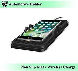 ワイヤレス充電 車載ホルダー 携帯スタンド スマホホルダー マットタイプ 置き型 防水シリコンマット 横置きにも対応 ダッシュボードに置くだけ iPhone8/X Iタイプ 【AK-PH-023】