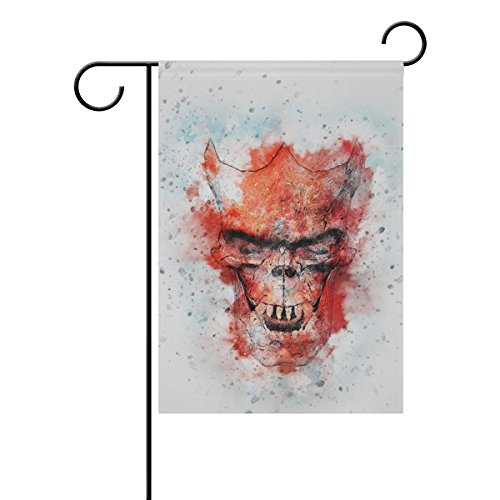 (Home Decorative Outdoor Double Sided Skull Gothic Horn Art Abstract Vintage Watercolor Garden Flag,house Yard Flag,garden Yard Decorations,seasonal Welcome Outdoor Flag 12 X 18 Inch Spring Summer Gift)