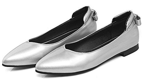 Idifu Womens Confortables Arcs Fermé Bout Pointu Bas Top Slip Sur Les Chaussures Plates Argent