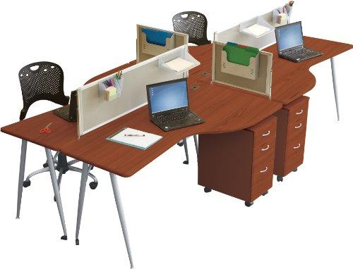 Balt iFlex Modular Desking System Left Table, Full, Cherry/Silver