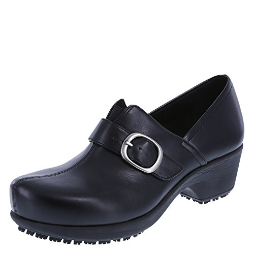 safeTstep Black Women's Slip Resistant Buckle Gretchen Clog 7.5 Wide