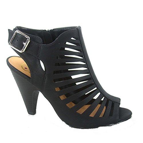SODA Shaky-s Womens Sexy Strappy Peep Toe Slingback Buckle Chunky Heel Sandal