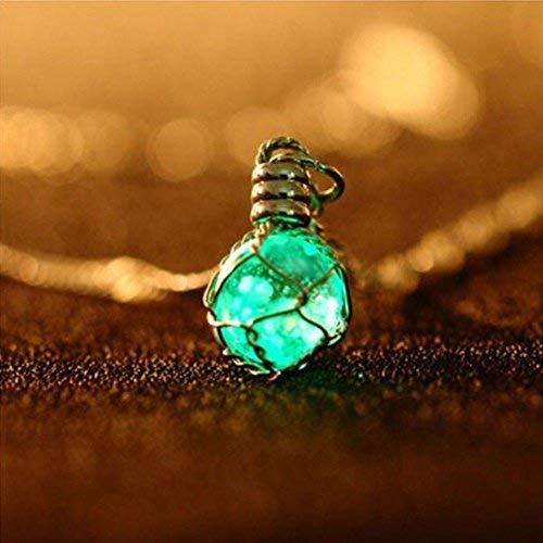 Phonphisai shop Chic Glow in The Dark Steampunk Pendant Magic Ball Necklace Jewelry Luminous Color Green -
