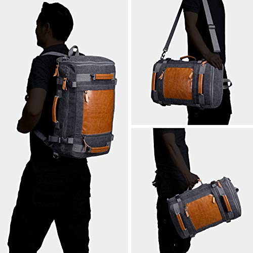266bfe98e WITZMAN Men Vintage Canvas Rucksack Travel Duffel Backpack Retro Hiking Bag  2033 (19 inch Black