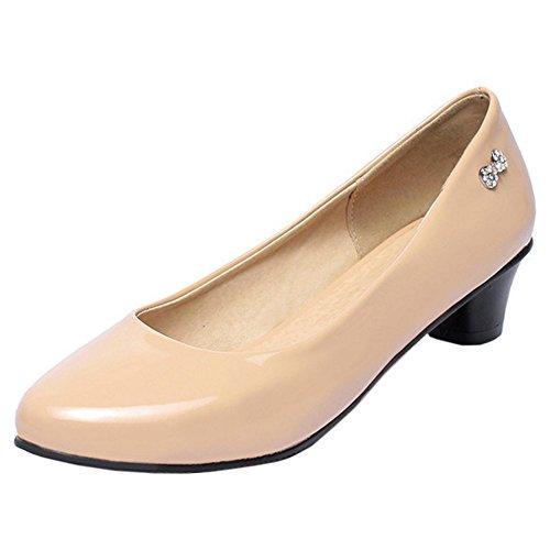 Slip TAOFFEN On Size Classical Shoes Women Small Shoes Pumps apricot xPXqRnOX