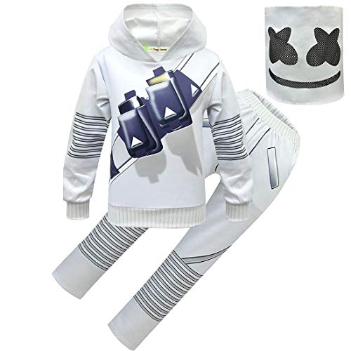 Marshmello DJ Hoodie and Pants Full Set Costumes with Mask Kids Boys Girls Suit -
