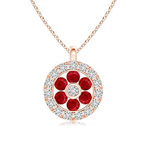 Channel-Set Ruby Flower Pendant with Diamond Halo in 14K Rose Gold (1.5mm Ruby)