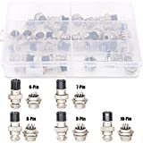 Hilitchi 32-Pieces 6 7 8 9 10 Pin 16mm Thread Male Female Panel Metal Aviation Wire Connector Plug Assortment Kit