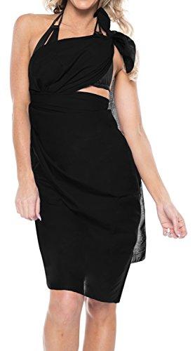 sarong bagno cucita rayon pareo 78x39 coprire Nero solido pollici costume LEELA scuro v467 da LA q0ZwXxa