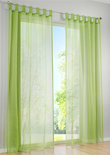 LivebyCare 1pcs Candy Color Sheer Window Curtain Panel Tap Top Voil Window Treatment Drapery Drape Room Divider Partition Curtains Decorative for Living Room Lounge (Green Sheer)
